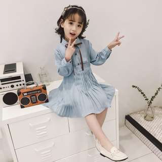 Kids Girl Children Princess Korean Style Chiffon Pleated Long Sleeves Dress