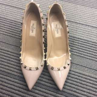 Valentino rockstud nude heels, size 36.5, 8cm, only tried on once, with receipt