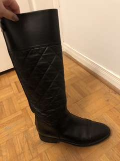 Chanel authentic black leather riding boots
