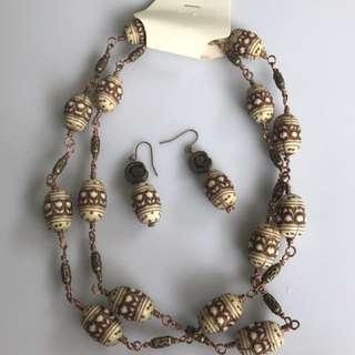 Handmade necklace n ear rings set