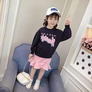 Kid Girls Children Princess Sporty Look Long Sleeves Top + Mermaid Frill Skirt