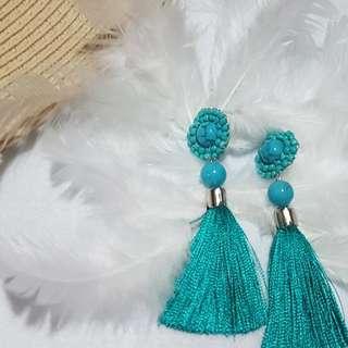 Teal tassel earrings - handmade customized