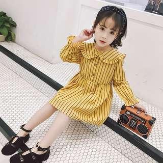 Kids Girls Princess Marines Style Frill Lapels Collar Stripe Dress