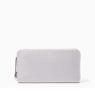 SALE Kate Spade Grand Street Lacey Long Zip Continental Wallet Stone Ice White Grey