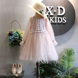 Kid Girls Vintage Elegant Laces Embroidery Pearl Dress