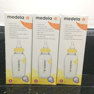 🆕3 x Medela Medium Flow Teat with 250ml Breastmilk Bottle