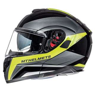 MT-Helmets Atom Tarmac Flip Up Helmet - Gloss and Matt Black Fluo Yellow
