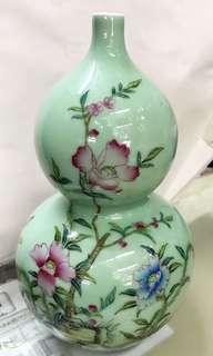 [賞]翠綠色古董葫蘆花瓶~擺放欣賞之用