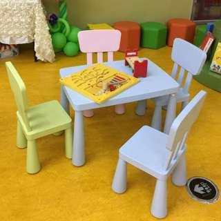 Colourful Plastic Table, Colourful Plastic Chair