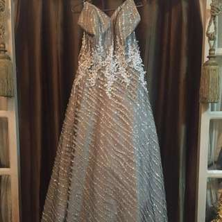 Silver Grey Floor-length Ball Gown