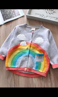 PO gd quality kids rainbow design Cardigan size 90-130cm