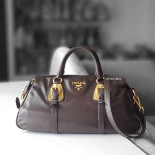 Authentic Prada Soft Calf Leather Top Handle Bag BN1903