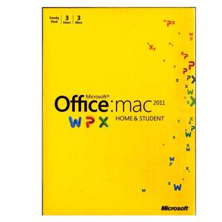 Microsoft Office for Mac 2011 Home & Student,  3 users 3 Macs