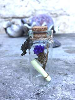 Forget me flower in vial keychain or necklace