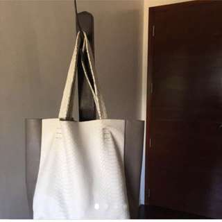 TheLeatherCo White and Gray Python Leather Tote