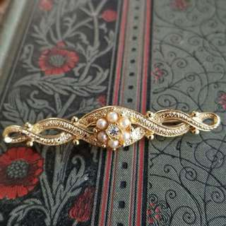 現貨美國二手Vintage 珍珠華麗一字別針/胸針