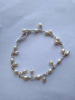 Rice pearl bracelet genuine silver setting
