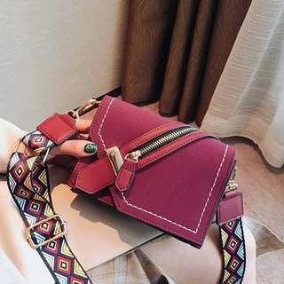Korean Fashion Vintage Wide Colors Geometric strap Sling Cross Body Scatchel bag