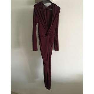 Sheike Burgundy Gown