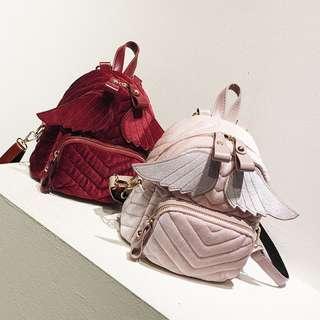 Korean Fashion Women Angel Wing Mini size Backpack Sling Bag Velvet Cute bag