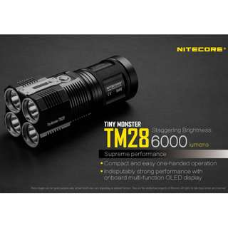 (FREE Delivery) Nitecore TM28 Tiny Monster 6,000 Lumens Flashlight - Batteries & Charger Included