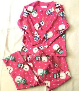Charity Sale! Snowman Snow Pajamas Size 4 Girls Pink PJs