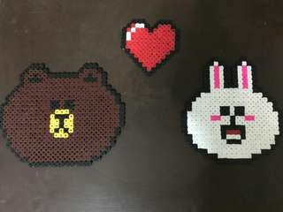 Brown love Cony pieced beads