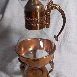 Vintage Copper and Glass Tea Pot