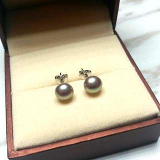 日本天然紫珍珠純銀防敏感耳環 Japanese Natural Purple Pearl Sterling Silver Sensitive Earrings