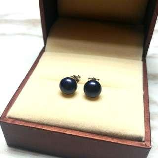 日本天然黑珍珠純銀防敏感耳環 Japanese Natural Black Pearl Sterling Silver Sensitive Earrings