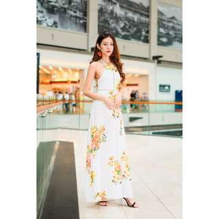 (PO) Keira Halter Maxi Dress in Yellow