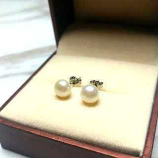 日本天然珍珠純銀防敏感耳環 Japanese Natural Pearl Sterling Silver Sensitive Earrings