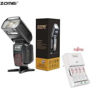 ZOMEI ZM-860T HSS 1/8000S auto ttl Nikon Canon Camera Flash with Fujitsu basic Charger Battery Set