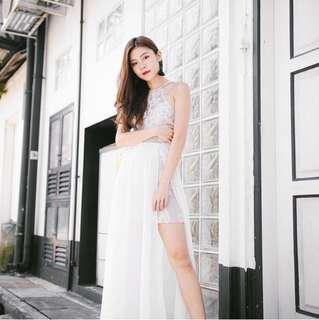 Raysie crochet dress in white