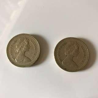 兩個 1983年 1英磅硬幣 one pound 流量少