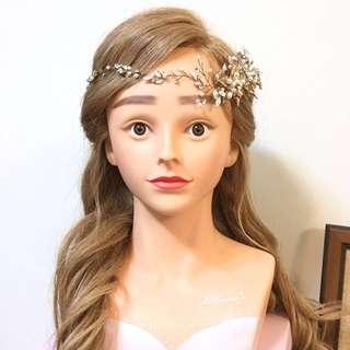 🚚 二手新娘髮飾  仙女風金色髮帶 結婚喜宴 新秘創作 自主婚紗 舞台走秀