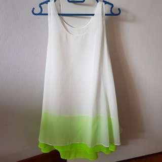 Sleeveless white and fluorescent green dress