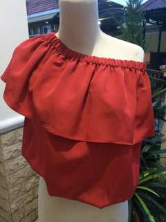 Baju kerut/sabrina merah