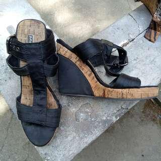 Pepermint - Black Straps Wedge Heels