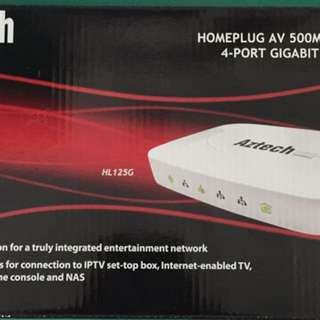 Aztech HL125G 4-port homeplug