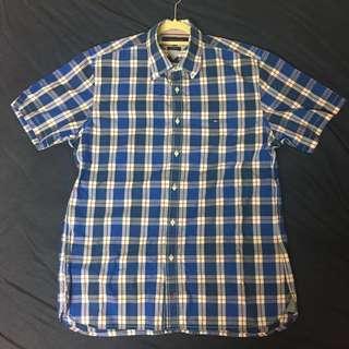 🚚 Tommy Hilfiger 藍格紋 短袖 襯衫 M號