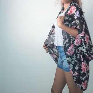 cotton on floral cocoon kimono