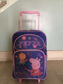 """Peppa Pig 16"""" Rolling Backpack Blue Make Music with Friends"""