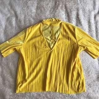 Monki Yellow Velvet Choker Top