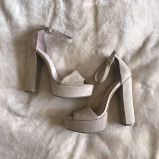 Chinese Laundry Beige Suede Heels