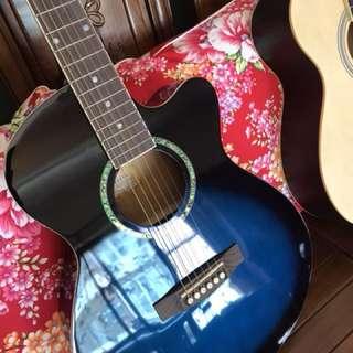🚚 小岡樂器嚴選民謠吉他 藍色
