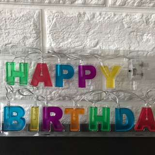 Lighted happy birthday sign