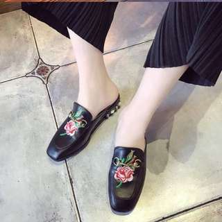 FLASH SALE $20 Brand new rose embroidery slip on