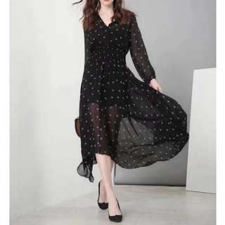 Lanvin Black Chiffon Print Dress