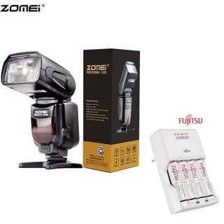 ZOMEI ZM-430T Manual ttl Camera Flash with Fujitsu basic Charger Battery Set